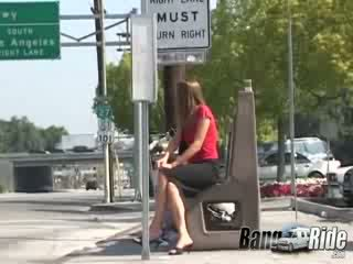 Beautiful white chick licking and fucking rock Rough dongs in the van