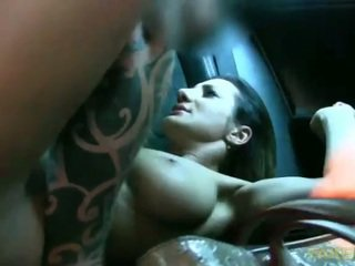 Big titted babe fucked with a driver