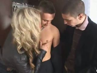 2 Gays Invite Blonde Bitch To Have A 3some