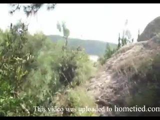 Nuori amatööri villi naida kun taas mountain hiking