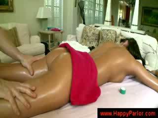 titten, brünette, masseuse
