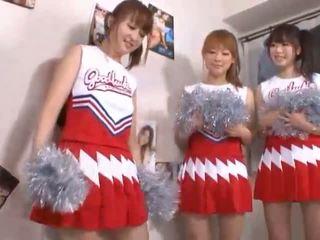 Three big tits japanese cheerleaders sharing cock