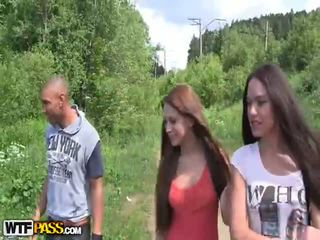 Outdoor Blowjob And Lesbian Scene