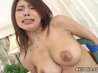 Petite Japanese babe servicing two coc...