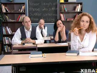 Escolar adolescente libro informe con teachers polla dentro su
