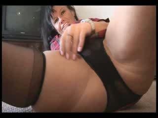 Big Boob mature dark haired with hairy Pussy undresses