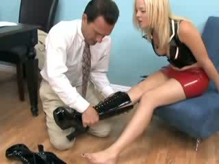 Alexis in sexy boots getting her feet sucked and fucked