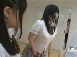 Subtitled 일본의 schoolgirls 에 thongs 엉덩이 judging
