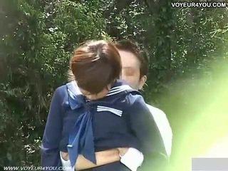 Skola studenten couples kön utomhus exposure