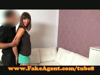 FakeAgent Hot brunette gets face full of spunk