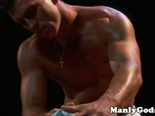Closeup gay rimming with muscular couple