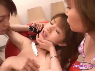 Asian Girl Handcuffed Kissed Spitted To Mouth Hairy Pussy Fingered By 2 Girls On The Chair In The Beauty Salon