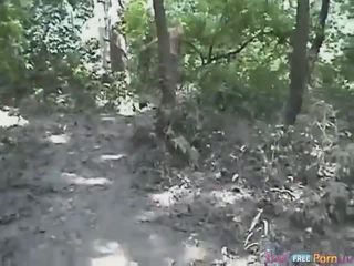 Tania has a doggystyle quickie in the forest