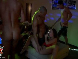 brunette, group fuck, group sex