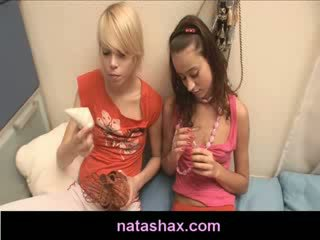 Natasha innocent and Exgirlfriend play with nipple pump
