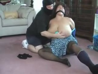 BBW bent over, tied, gagged and.
