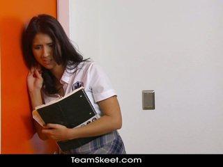 brunetka, student, łup