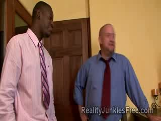 Blonde MILF Escort sucks big ebony thugs boner right before her cuckold husbands eyes