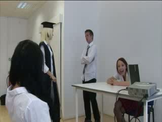 Detention students get punished by cfnm teachers with boobs
