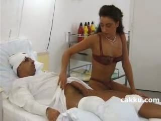 Nurse using all ability for sick man 1