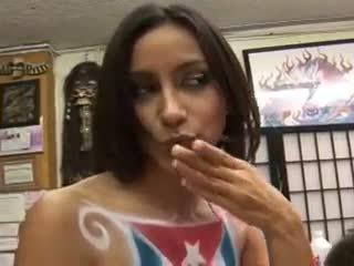 Big ass Latina rides a painters throbbing cock