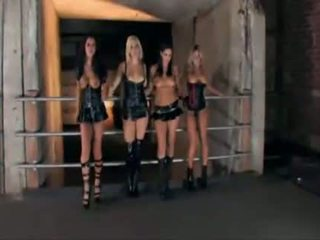 Four hot lesbian with latex underwear played together