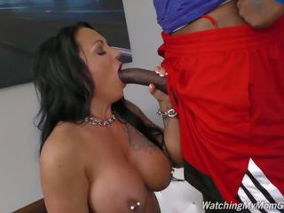 Busty Mother Takes Black Cock in Front...