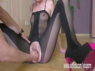 Fisting Her Wrecked Teen Twat Till She Squirts in Orgasm
