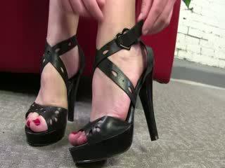 Dirty Hooker uses her feet to tease ebony shaft