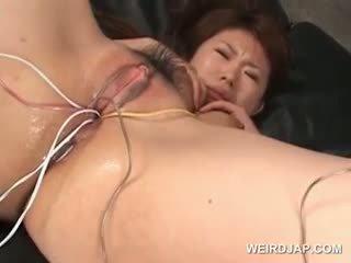 אסייתי tramp gets שלה שיערי רטוב twat מזוין עם vibrators