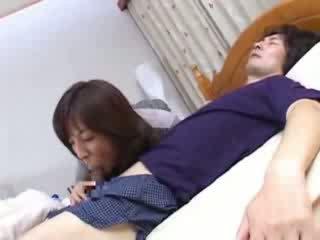 japoński, łóżko, mama