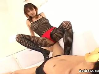 Aziýaly av star ai kurosawa is shaged through tights