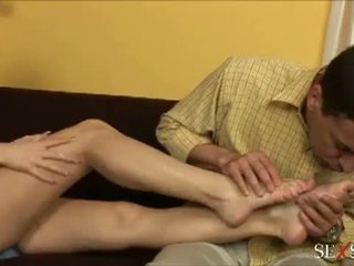 Sex Sense: Sexy lulu loves strocking cock with her feet