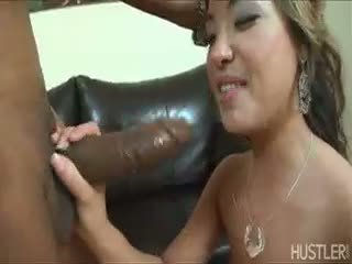 brunette, blowjob, interracial