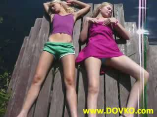 Two girls fingered by the river