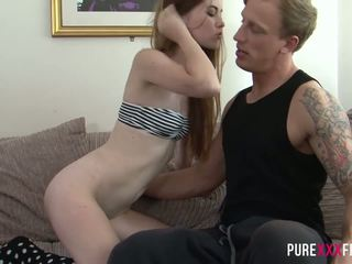 redheads, small tits, creampie