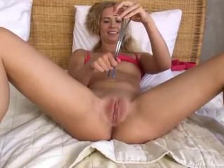 Blond trying brutal gyno toys on pussy
