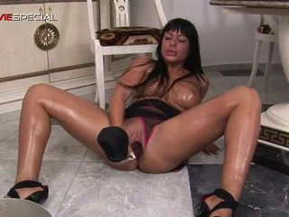 Busty Horny Bitch Working On A Huge Sex Toy