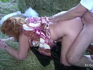 German MILF Mom and Dad Fuck Outdoor on Farm: Free Porn 0b