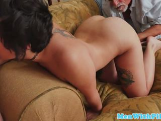 Inked Teenager Spitroasted by Geriatri...