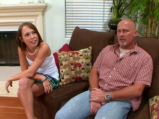 Mom and her hot daughter fucked by one man.