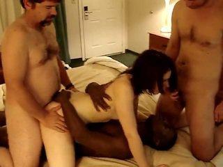 3 guys gangfuck मेरे वाइफ sylvia पर एक motel में phx 4