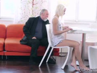 Blonde Teen Tanya Surprised By The Old Man's Sexual Strength