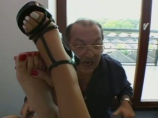 AEBN Straight VOD: Cute brunettes get fingered by old guy