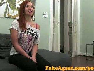 FakeAgent Creampie for red head sex kitten