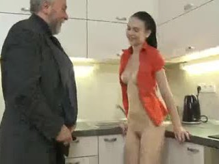Cute brunette gets fucked by old man