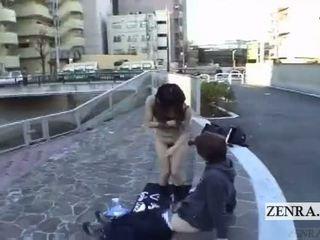 Subtitled keterlaluan warga jepun awam nudity di luar menghisap zakar
