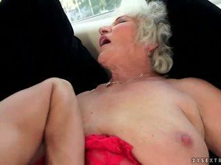 Naughty busty grandma enjoys hot sex