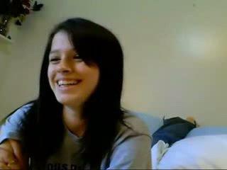 Nyata remaja amatir rambut coklat webcam masturbation