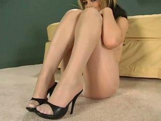 Adorable darling enjoys wearing pantyhose